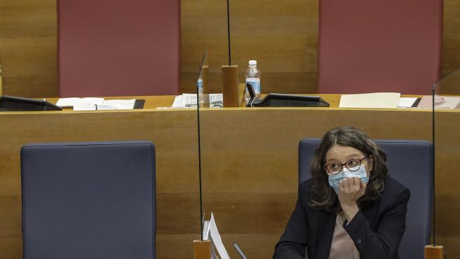 ROBER SOLSONA...202104121....VALENCIA....COMPARECENCIA DE LA VICEPRESIDENTA MÒNICA OLTRA PARA DAR EXPLICACIONES SOBRE LA CONDENA A SU EX MARIDO.