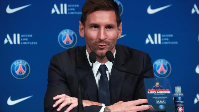 Leo Messi, en su presentación con el PSG.