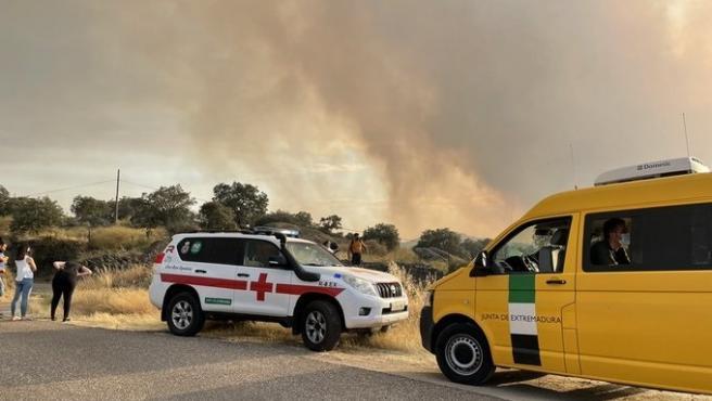 Aumentan a 100 los efectivos en el incendio en Alburquerque que corta la carretera Ex-110
