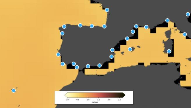 Herramienta de la NASA para ver cómo afecta el cambio climático a las playas españolas.