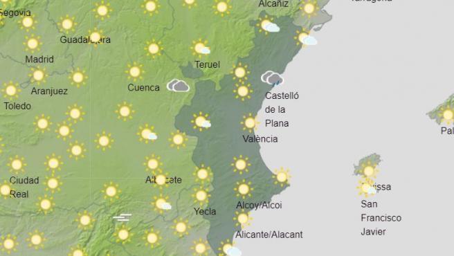 La Comunitat amanece con cielos nubosos y prevé tormentas con granizo en el interior de Valencia y Castellón esta tarde