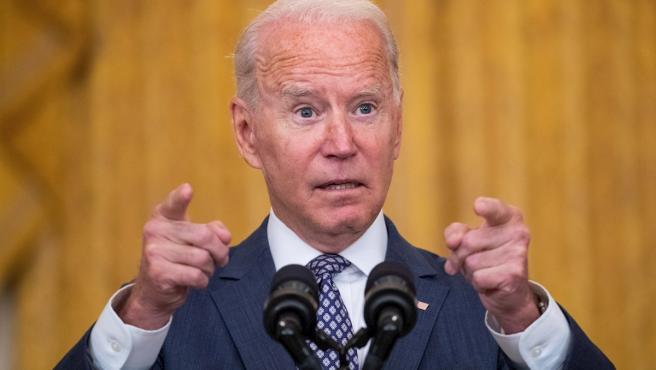 El presidente de EE UU, Joe Biden, durante su comparecencia de este viernes por las evacuaciones de Afganistán tras la toma de pode talibán.