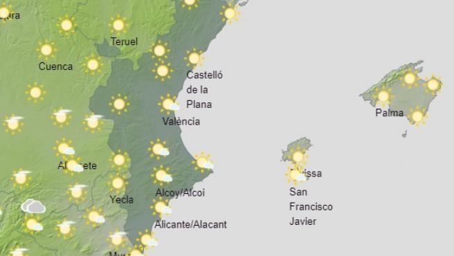 La Comunitat despide la semana con nubes y chubascos débiles en el interior de Castellón a partir de mediodía