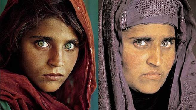 Sharbat Gula, en la imagen de la portada de 'National Geographic' de 1985 (izq.), y en el año 2002 (der.).
