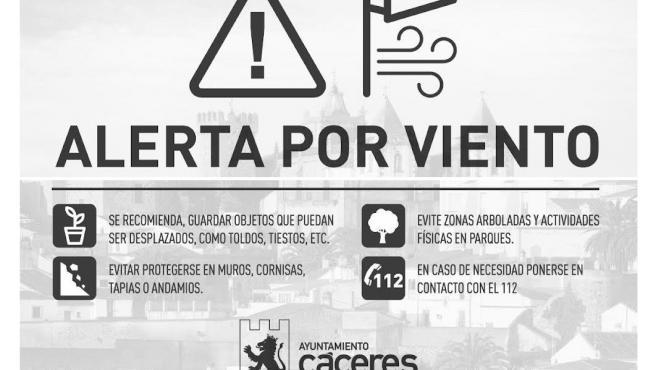 Cáceres cierra los parques municipales debido a la alerta meteorológica por fuertes rachas de viento