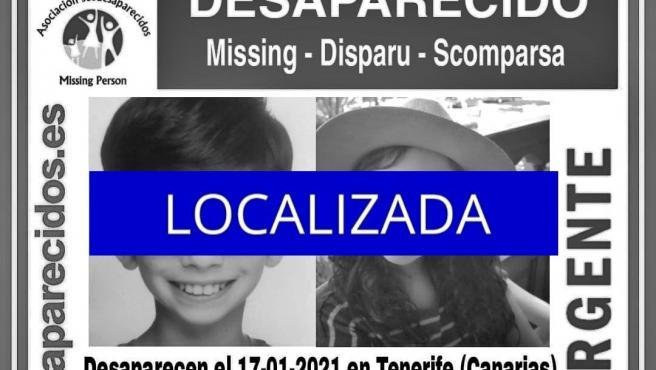 Imagen difundida por SOS Desaparecidos de Kristian y Amantia Toska ya localizados.