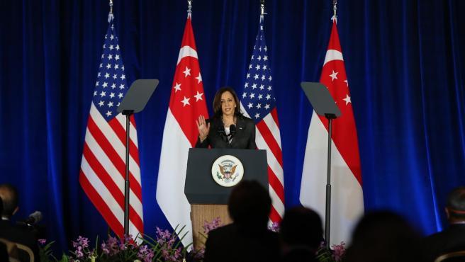 La vicepresidenta estadounidense, Kamala Harris, durante su gira por Asia.