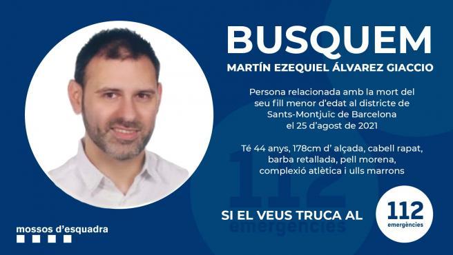 Martin Ezequiel Álvarez Giaccio, padre del niño asesinado en Barcelona, en una imagen difundida por los Mossos.