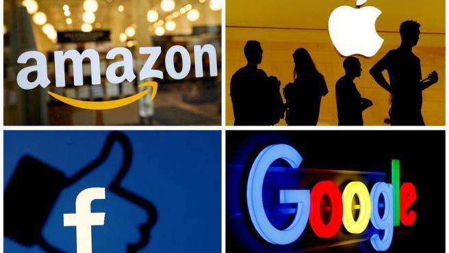 Los logotipos de Amazon, Apple, Facebook y Google.