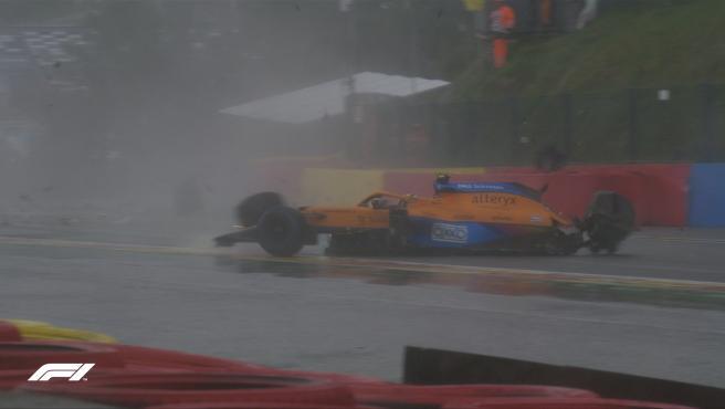 Accidente de Lando Norris en la clasificación del GP de Bélgica