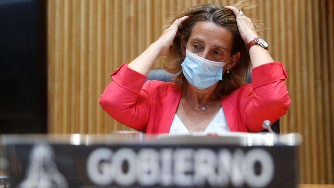 La vicepresidenta tercera y ministra para la Transición Ecológica, Teresa Ribera, este lunes en el Congreso.