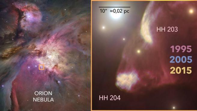Vista de HH204, un objeto Herbig-Haro en la Nebulosa de Orión.