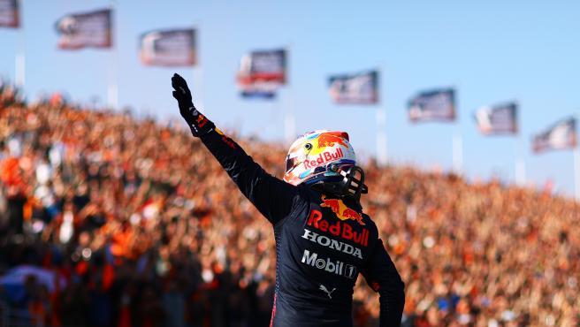 Max Verstappen greets the Zandvoort crowd