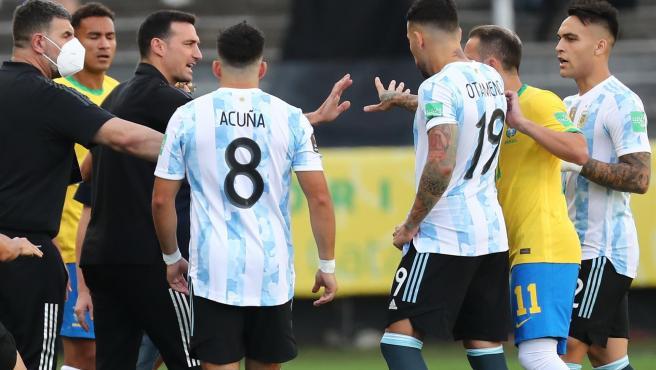 Imagen del caos en el Brasil-Argentina.