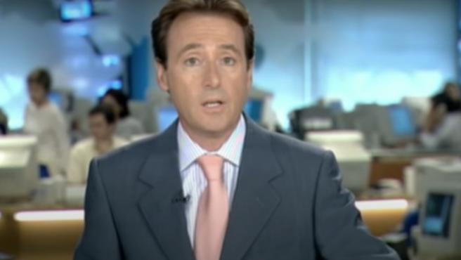 Matías Prats durante los informativos de Antena 3, el día del 11S.