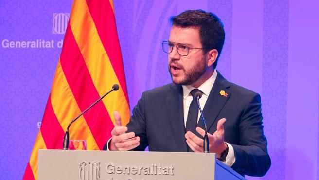 El 'president' del Govern, Pere Aragonès, en rueda de prensa.