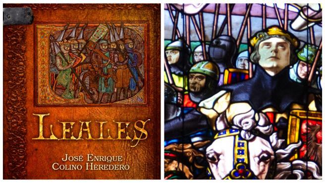 La cubierta del libro 'Leales', de José Enrique Colino, y la vidriera de la Colegiata de Roncesvalles, en Navarra.