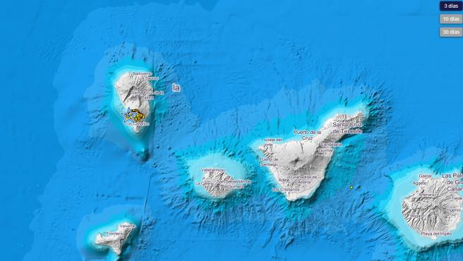 Mapa del seísmo en La Palma.