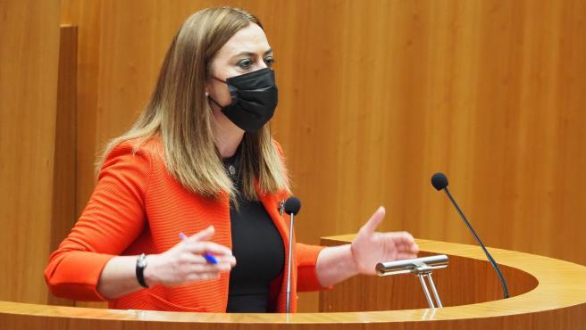 VALLADOLID. 22/03/21. CLAUDIA ALBA. MOCION DE CENSURA. intervención de la portavoz del PSOE Virginia Barcones.