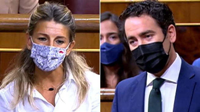 """La vicepresidente segunda del Gobierno, Yolanda Díaz, ha dicho, durante una intervención el Congreso de los Diputados, que el Gobierno está defendiendo al país """"reduciendo los groseros beneficios que tienen algunas empresas, algo que no se ha hecho nunca"""" en España."""