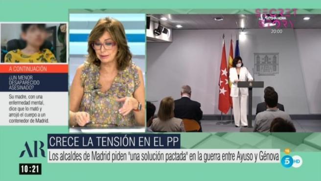 Ana Rosa Quintana analiza el enfrentamiento entre Ayuso y Génova.