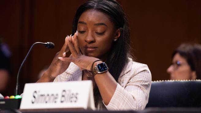 Simone Biles, durante su testimonio en el Senado contra Larry Nassar