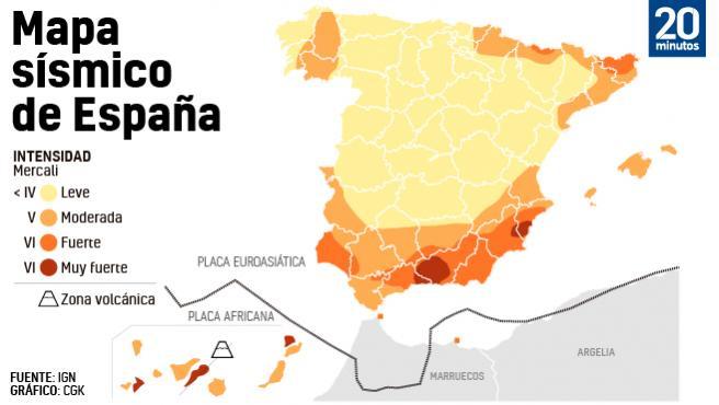 Zonas de mayor actividad sísmica en España.