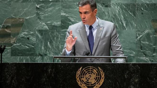 El presidente del Gobierno, Pedro Sánchez, durante su discurso ante la 79 sesión de la Asamblea General de la ONU, en Nueva York.