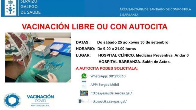 El Sergas habilita 15 puntos de vacunación libre en las siete áreas sanitarias para acudir sin cita o autocita