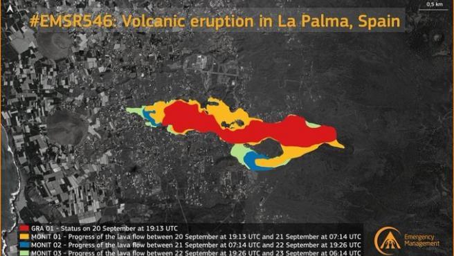 La lava cubre más de 180 hectáreas de la isla de La Palma que destruye 390 edificaciones y 14 km de carreteras