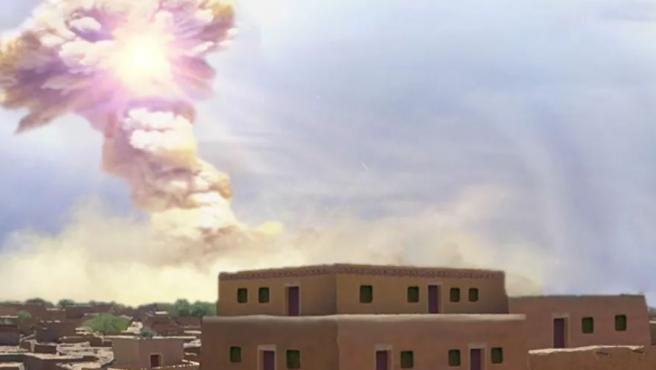 Representación artística de la explosión del meteorito sobre la ciudad de Tall el-Hammam.