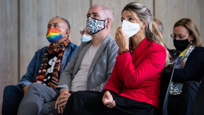 Yolanda Díaz, Jordi Curell y Unai Sordo, en el foro que abre Pedro Sánchez el lunes en Santander
