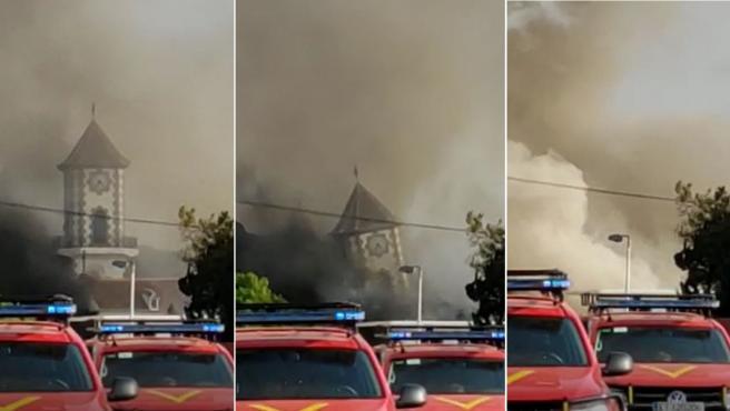 Secuencia del colapso de la iglesia de Todoque.