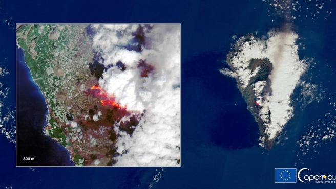 Imagen satélite del volcán de La Palma.
