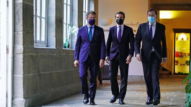 En Santiago de Compostela, el presidente del Partido Popular, Pablo Casado, inaugura la Convención nacional del PP y cuyo primer acto será un coloquio, que llevará por título Progreso y empleo, entre Casado y el ex p