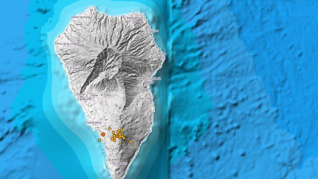 La actividad sísmica se reactiva y se desplaza al sur, con 16 terremotos este lunes en Fuencaliente