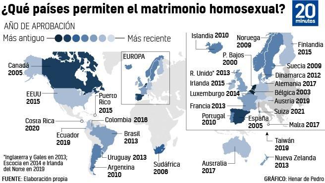 Países que permiten el matrimonio homosexual.