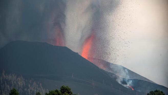 Vista de la erupción en el Volcán Cumbre Vieja de La Palma.