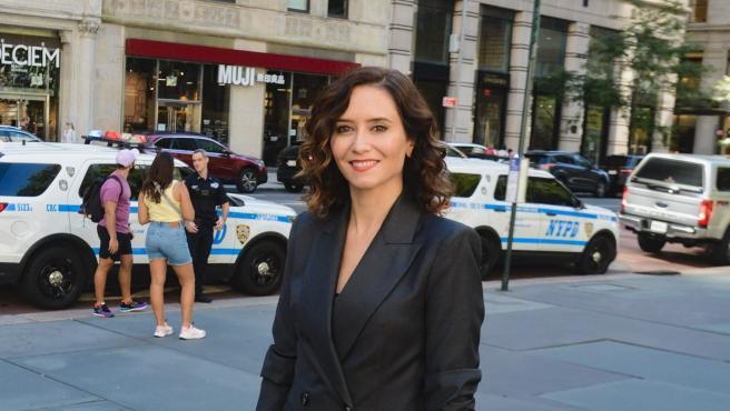 La presidenta de la Comunidad de Madrid, Isabel Díaz Ayuso, en Nueva York.