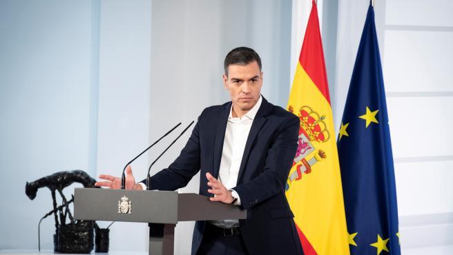 El presidente del Gobierno, Pedro Sánchez, este sábado en el acto institucional 'Salud mental y Covid-19'.
