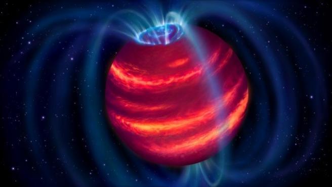 Impresión artística del descubrimiento apodado Elegast. Los bucles azules representan las líneas del campo magnético ASTRON/DANIELLE FUTSELAAR  (Foto de ARCHIVO) 10/11/2020