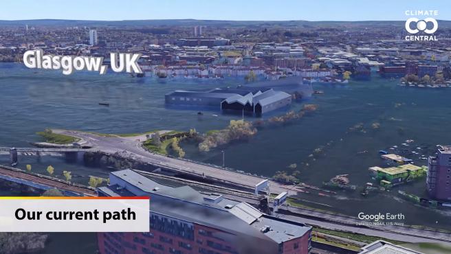 Glasgow, Reino Unido: Niveles del mar futuros proyectados.
