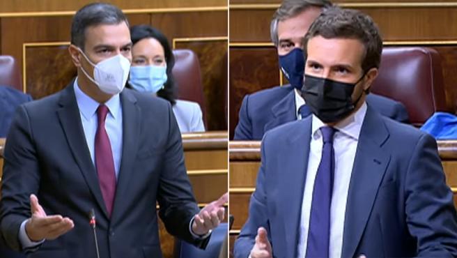 Pedro Sánchez y Pablo Casado, durante sus intervenciones en la sesión plenaria del Congreso.