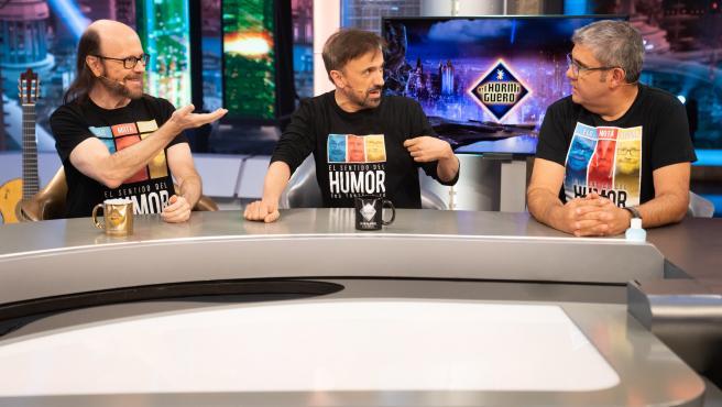 Santiago Segura, José Mota y Florentino Fernández, en 'El hormiguero'.