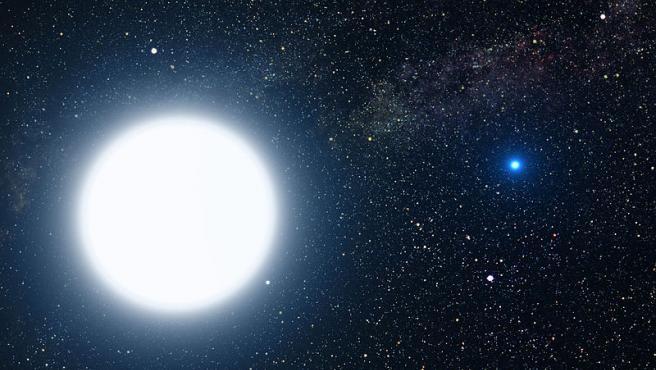 Recreación de una estrella enana blanca en un sistema binario.