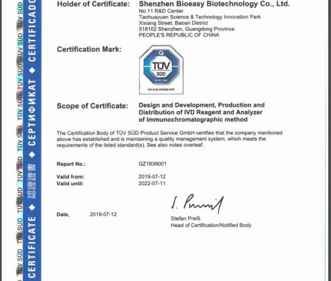 Certificado de homologación de Bioeasy.