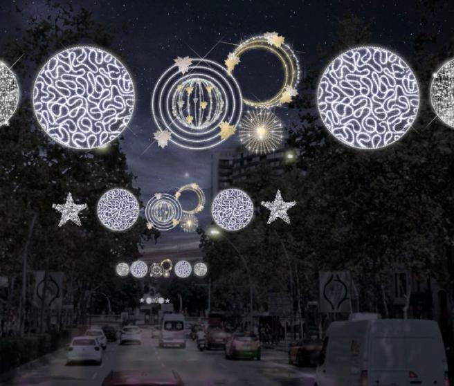 Luces de Navidad tal y como se verán este año 2020 en la Gran Via de Barcelona.