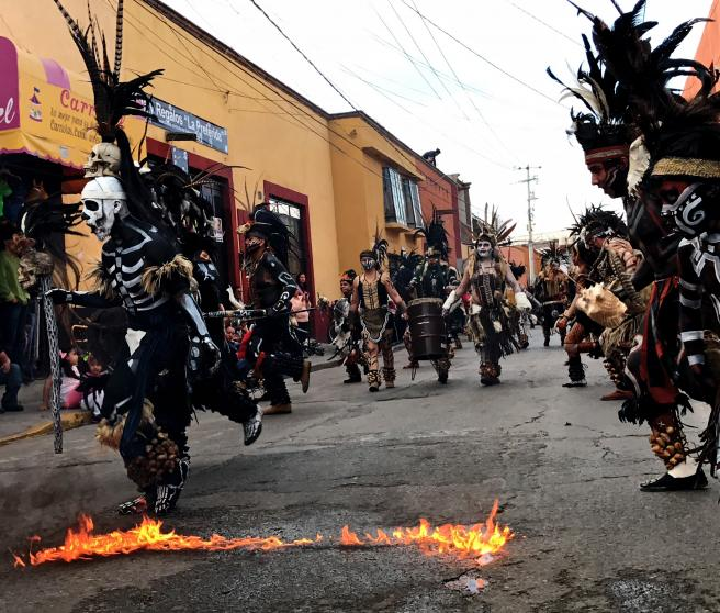 Pre-Hispanic dance on a street in Comonfort, one of the six 'magical towns' in the state.