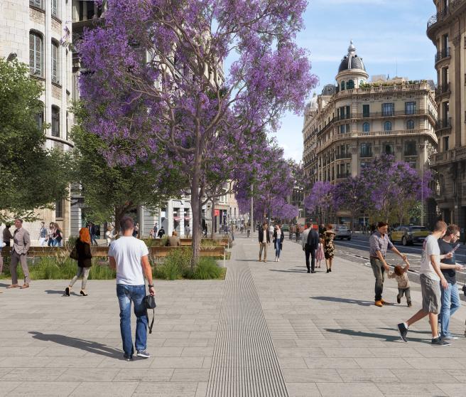 Recreación de cómo quedará la Via Laietana de Barcelona tras la transformación.