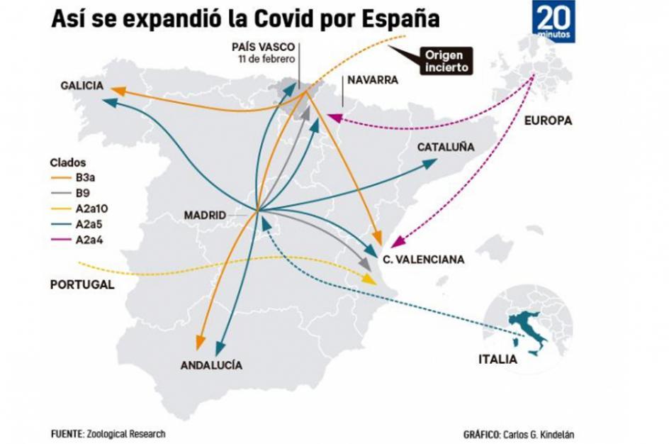 La expansión del coronavirus en España